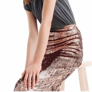 J. Crew Rose Gold Sequin Pencil Skirt